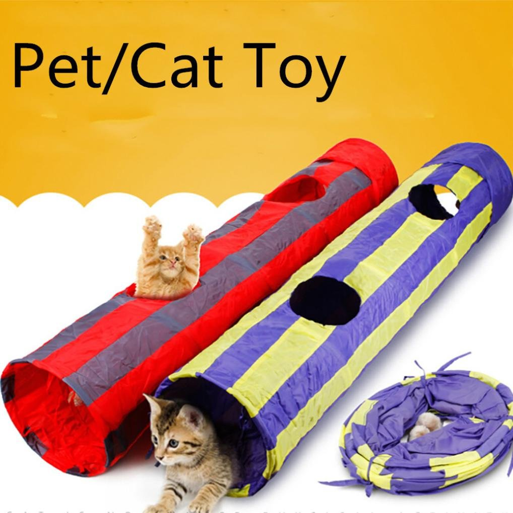 vmree Cat Tunnel Toy, Pet Tunnel Cat Printed Kitten Tunnel Toy With Ball For Kitty, Rabbits, Puppy and Small Dogs (Red, Size:11525cm)