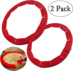 Neepanda Pie Crust Shield Adjustable Pie Crust Protector BPA-free FDA Food Safe Silicone Pie Shield Protector, Fits Any Size Pie 8 to 11.5-inch Including Rimmed Dishes(2 Pack, Red)