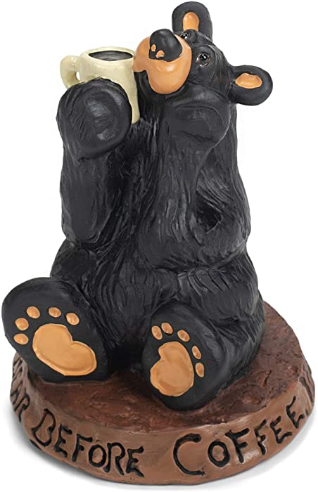DEMDACO Coffee Bear Black Bear 3.5 x 3 Hand-cast Resin Figurine Sculpture