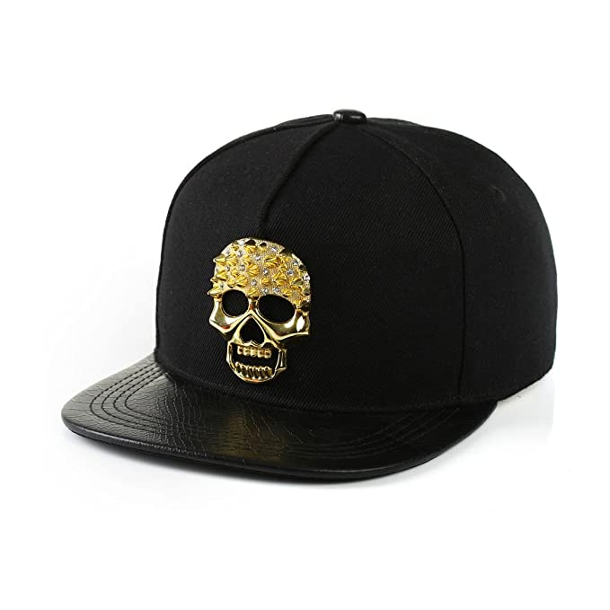 King Star Hip hop Hat Metal Skull Studded Snapback Cap Black at ... da9aa82d221