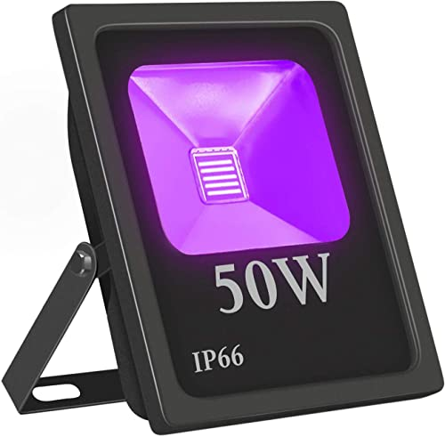 LED Flood Light, Exulight 50W High Power Blacklight 85V-265V AC IP66 for Parties,Curing, Glue, Halloween, Fishing, Aquarium with US Plug 50