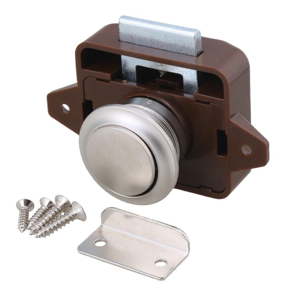 Agujero de apertura de 26 mm Marró n y plata Perilla de pestillo del gabinete sin llave para autocaravanas / autocaravana Caravana Armario de botes Puerta de gabinete BQLZR M4171106008