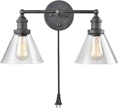 Industrial Glass Wall Sconce Plug In Wall Lights 2 Light Bathroom Vanity Lighting Amazon Com