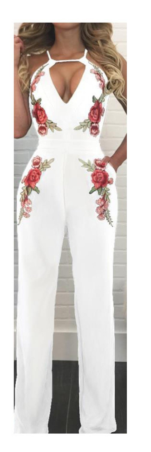 ylovego Wide Leg Jumpsuit V-Neck Rose Club Overall White M