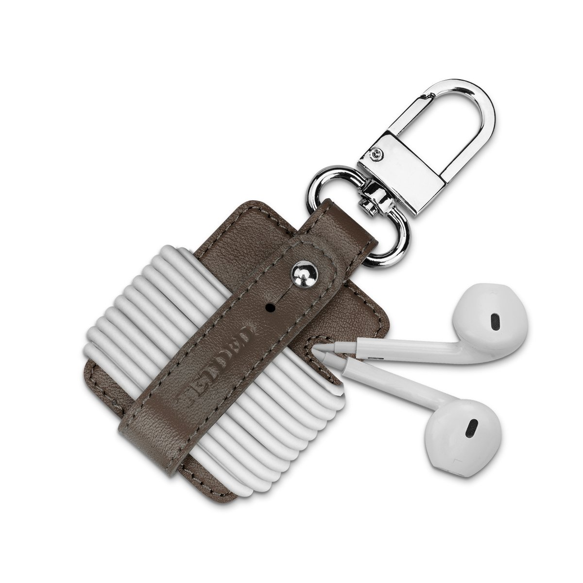 Tetded Premiumレザーイヤホンholder002 ,コードオーガナイザー ブラウン KN_EH002  Nappa Dark Brown B07DJ8K7GR