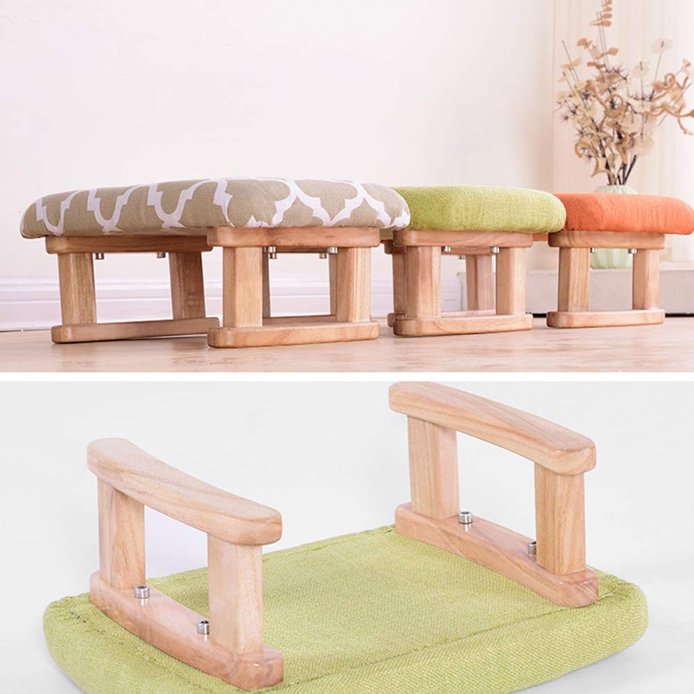 LIXIONG Outdoor Ottomans Footstools Household Paulownia Rectangle Japanese-Style Strike Prevention Sofa Stool, Bearing 150KG, 5 Colors (Color : Gray, Size : 40x27x17cm)