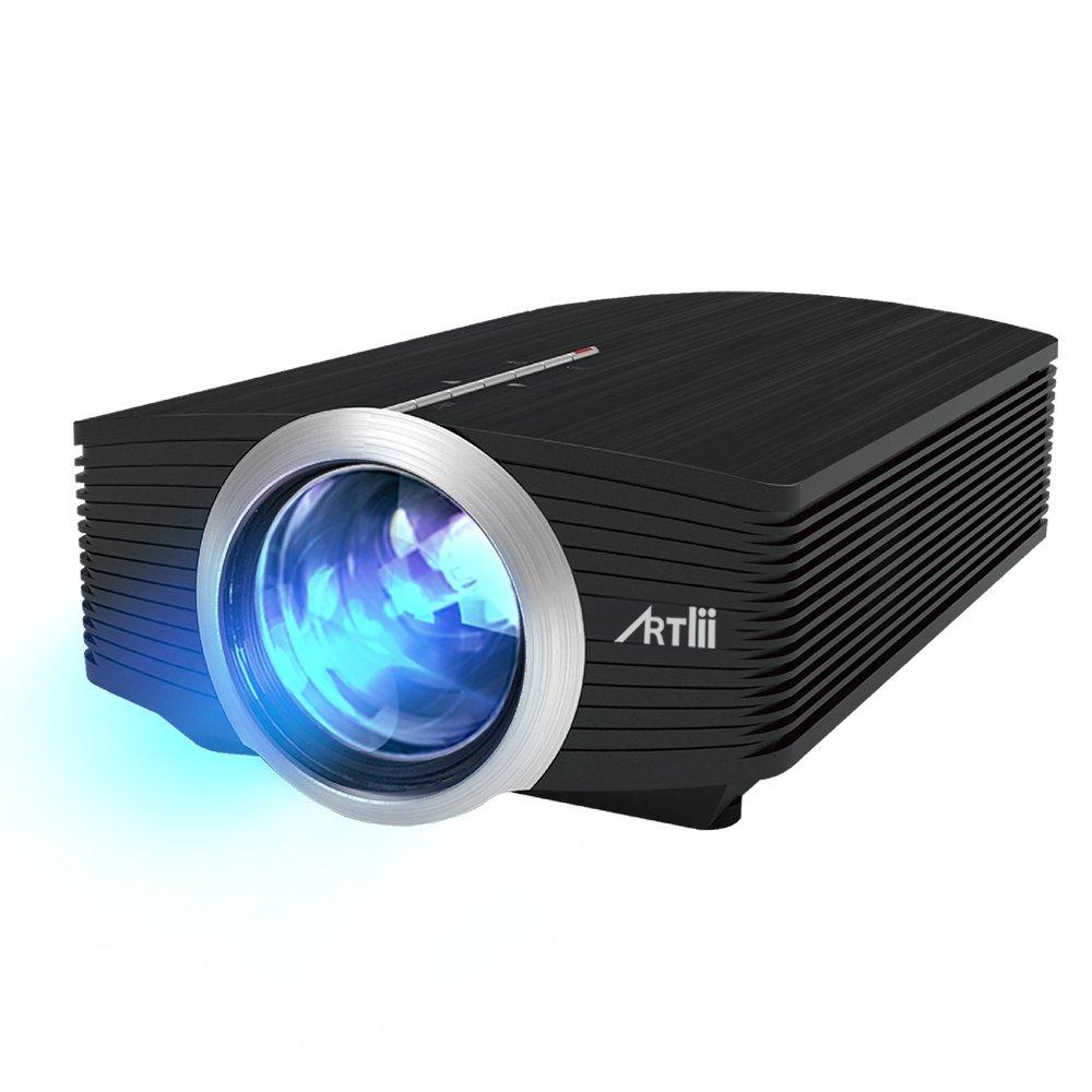 Proiettore Portatile, Artlii Videoproiettore tv, Supporto 1080P per Intrattenimento Domestico, con HDMI USB/SD/VGA/AV YG500-Euro-Black