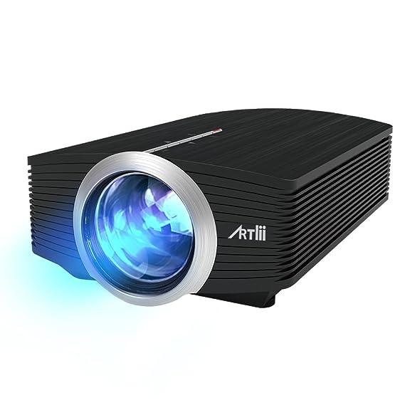 Proyector LED, Artlii Mini Proyector Portatil 1600 Lúmens,800x480 WVGA,Consigue una Imagen de 100