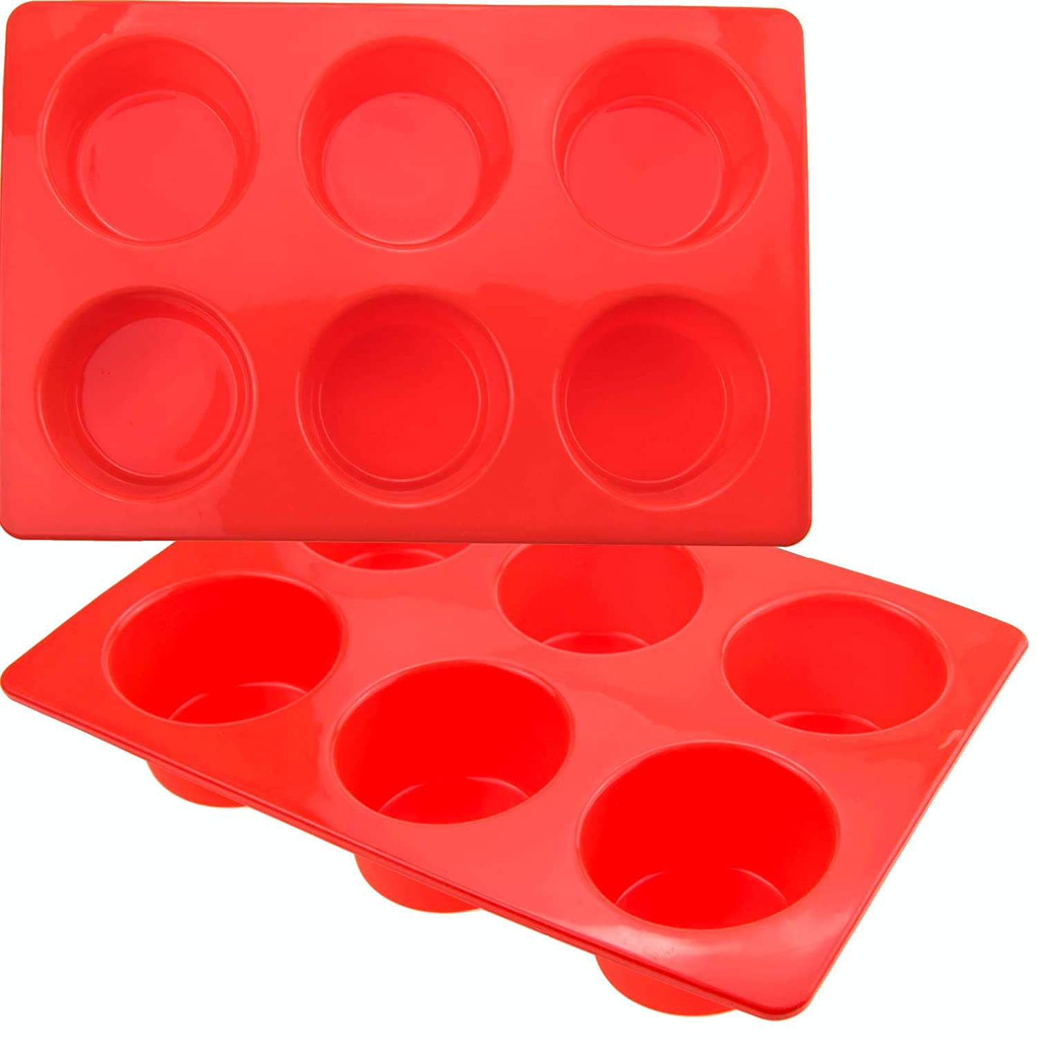 Wolecok 2 Pack Muffin Pans Silicone Muffin Tray Cupcake Cake Cases, moulds(6 holes, Red)
