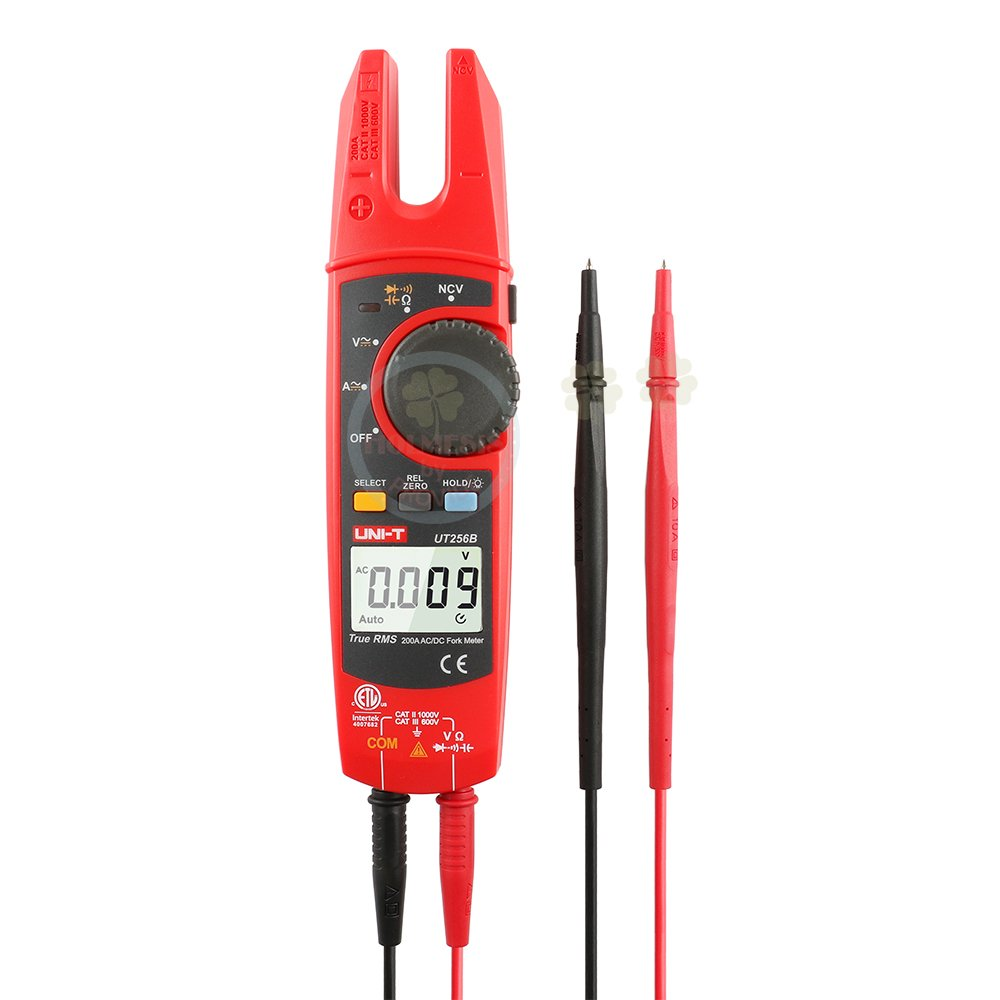 UNI-T UT256B Auto Range 200A AC/DC Current True RMS Digital Fork Type Clamp Meter NCV Tester