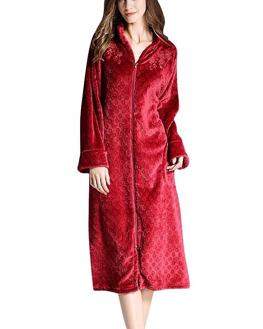 Mujer Albornoz con Bolsillo y Cremallera Manga Larga Bata Pijama Ropa Super Suave Robe: Amazon.es: Ropa y accesorios