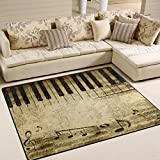 ALAZA Music Notes on Old Paper Sheet Area Rug Rugs Mat for Living Room Bedroom 7'x5'