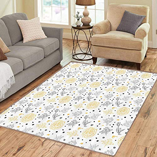 Rug,FloorMatRug,Grey and Yellow,AreaRug,Grunge Sketchy Romantic Roses Leaves Cotton Flowers with Dots Image,Home mat,5'8
