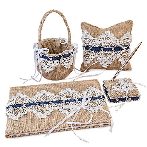 4Pcs/Set Big Size Vintage Retro Lace Wedding Flower Girl Basket & Ring Pillow & Guest Book & Pen Set for Wedding Decoration Supplies by Eamall
