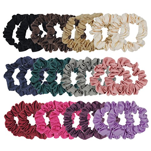 SUSULU Set of 24Pcs Satin Hair Bands Elastic Hair Ties Ponytail Holder Satin Fabric Hair Ties (Mix Colors) ()