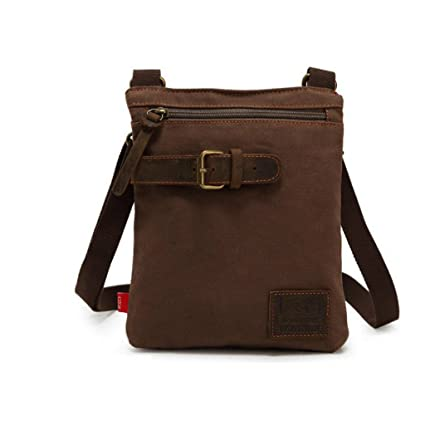 fcf9f2273f Retro Style Men s Small Canvas Satchel Crossbody Messenger Bag Shoulder Bag  Daypack - coffee  Amazon.in  Sports