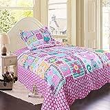 Brandream Girls Pink Cat Bird Print Quilt Set Kids Comforter Set Twin Size
