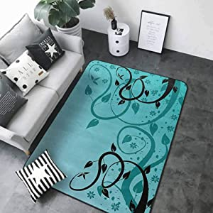 """Non-Slip Bath Hotel Mats Teal Decor Collection,an Abstract Floral Modern Illustration with Winding Tendrils Leaves Vines and Flowers,Black Teal 64""""x 96"""" Rugs for Outside"""