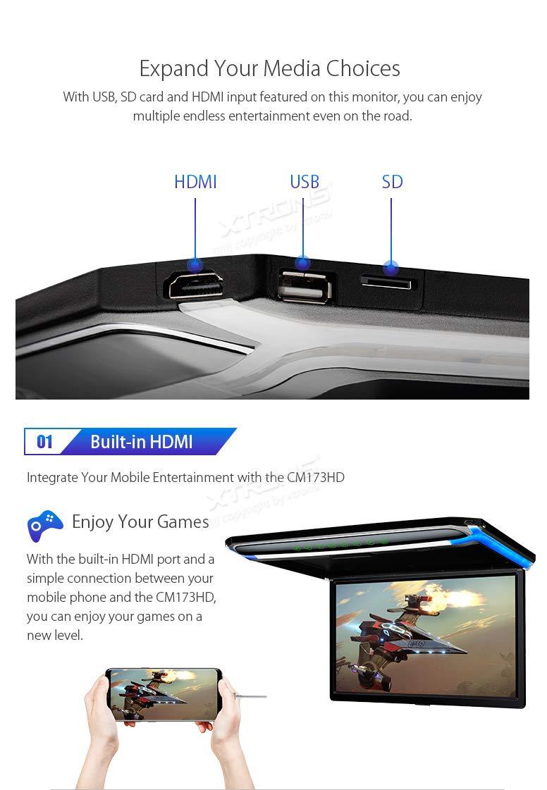 9/Ultra fin /écran TFT num/érique Full HD 1080p vid/éo de voiture Overhead lecteur Toit mont/é moniteur HDMI Port 19201080/haute d/éfinition compl/ète Xtrons/® 43,9/cm 16
