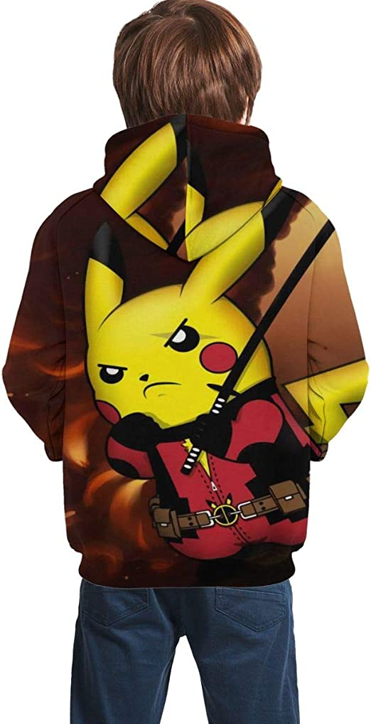 Boys Girls Kids Cartoon Pokemon Pikachu Hoodies Hooded Sweatshirt Hullover Tops