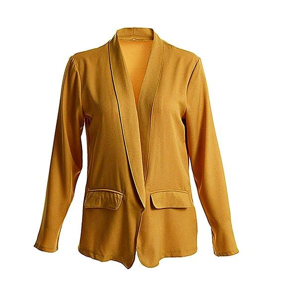 Blazer für Damen Jacke Open Front Lang Cardigan Premium Anzug Jacke Arbeits  Büromantel Elegant Frauen Mantel Outwear Tops Business Anzug Langarm Dünne  ... b156ffa08b
