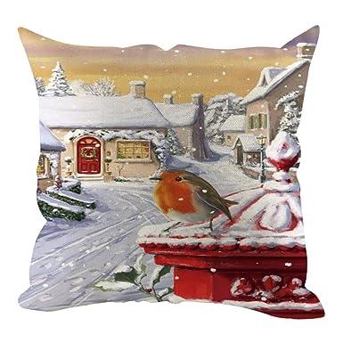 Funda de cojín de lino con diseño de Feliz Navidad, 45 x 45 ...
