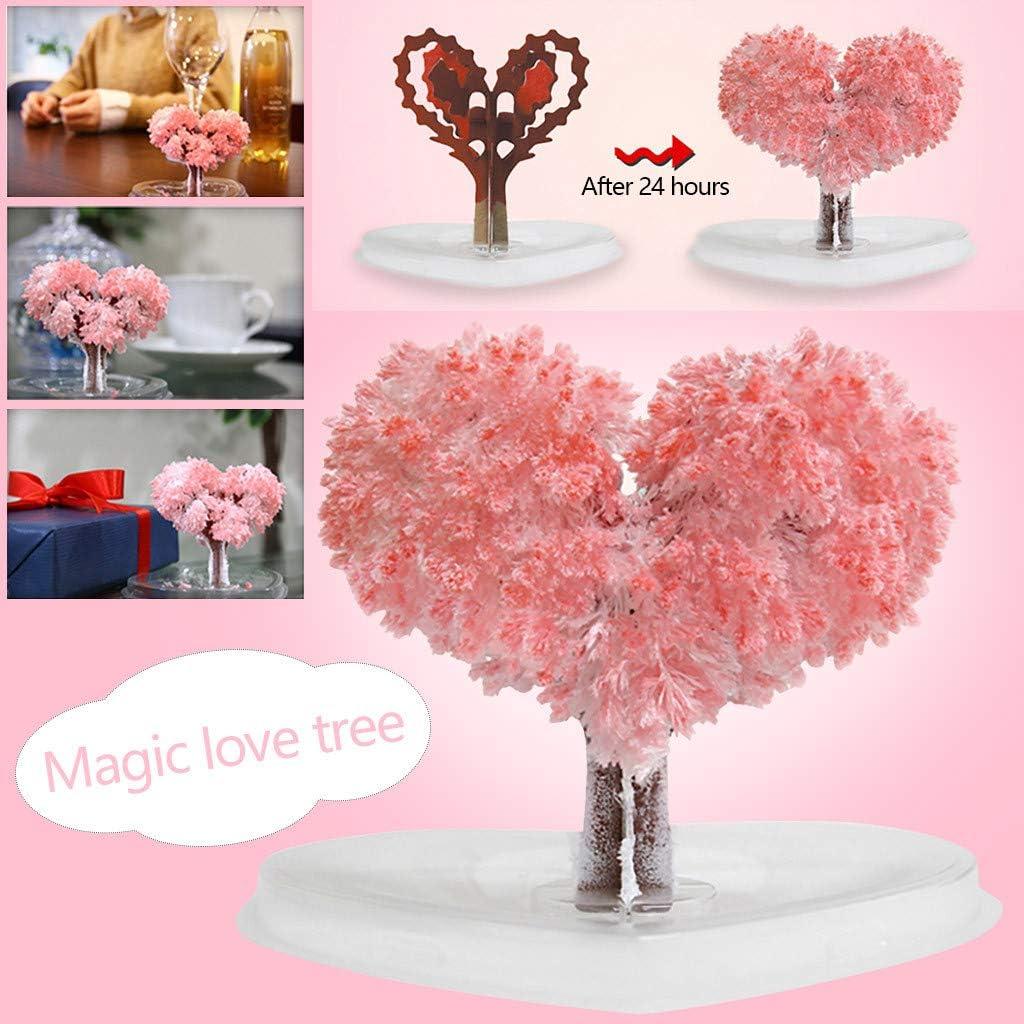Arbre Magique Bonsa/î Magic Sakura Arbre en Papier en Forme de Coeur Floraison Cr/éative Magie Color/ée Arbre Croissant Artisanat Jouet Sensail A