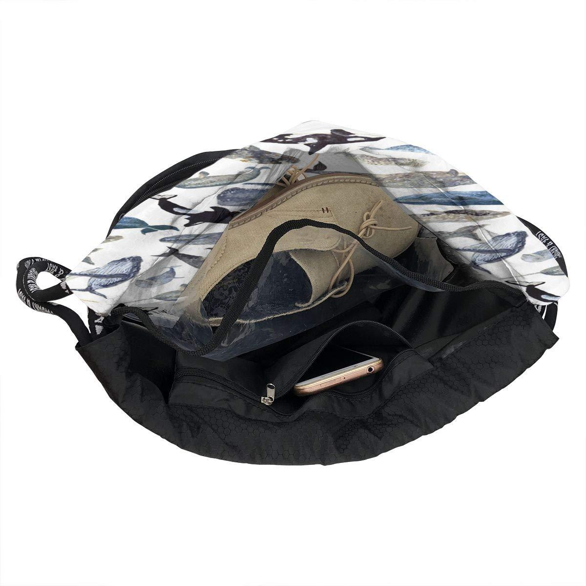 HUOPR5Q Whales Drawstring Backpack Sport Gym Sack Shoulder Bulk Bag Dance Bag for School Travel