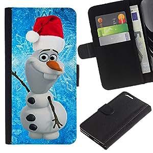 For Apple (5.5 inches!!!) iPhone 6+ Plus / 6S+ Plus Case , Santa Christmas Blue Winter - la tarjeta de Crédito Slots PU Funda de cuero Monedero caso cubierta de piel