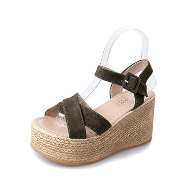 1c52acfe6fe0 Sandals for Women Platform Summer High Wedge Heels Sandals Suede Cork Peep  Toe Ankle Strap Walking