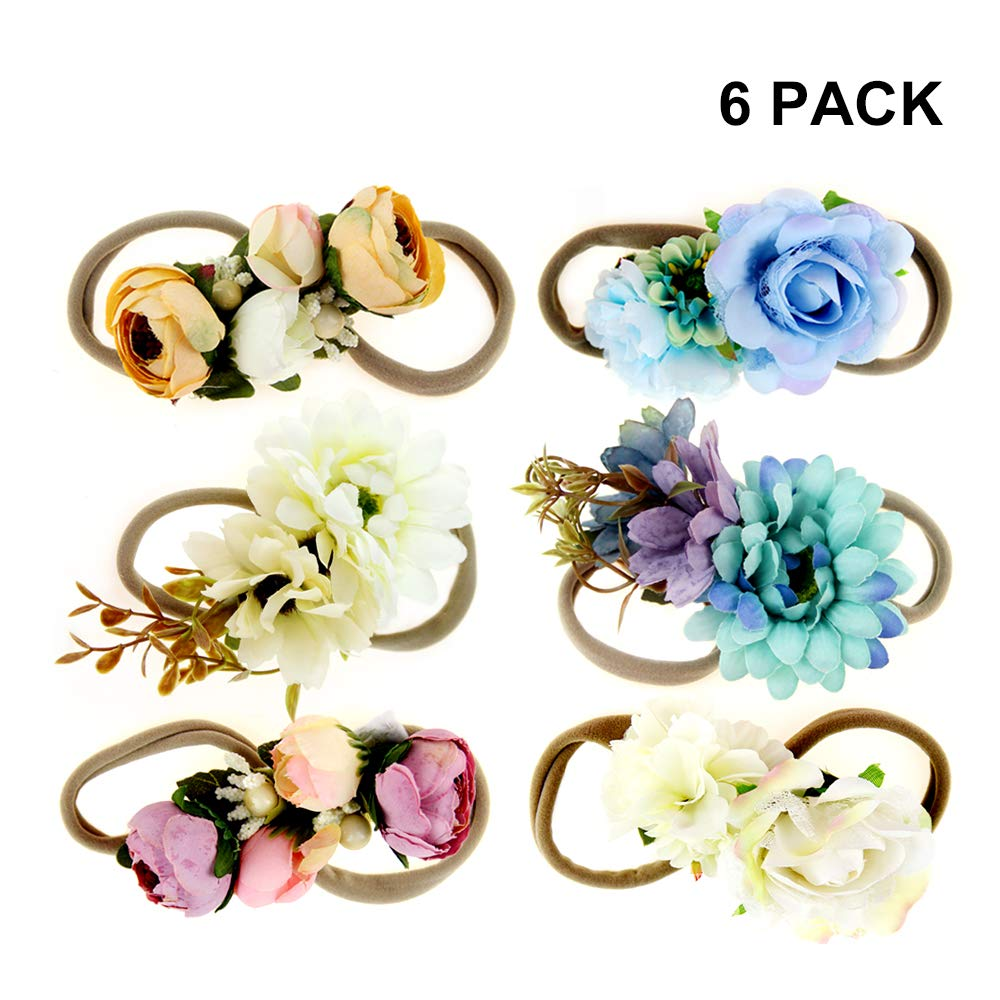 IEUUMLER Elastic Flower Baby and Newborn Girls Floral Props Headband-Set of 2 Hair Accessories (AB)