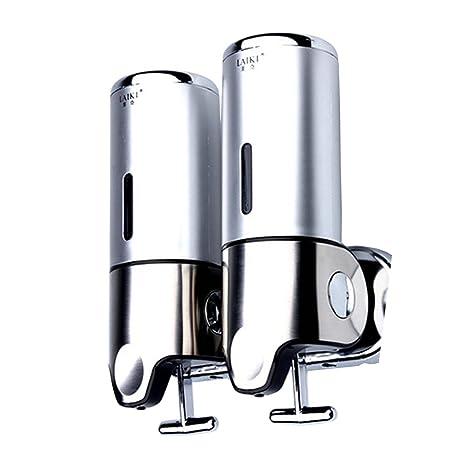 Angelbubbles Dispensador de jabón (para jabón, champú y gel) con 2 compartimentos Dosificador doble de champú jabón con soporte de pared (Silver): ...