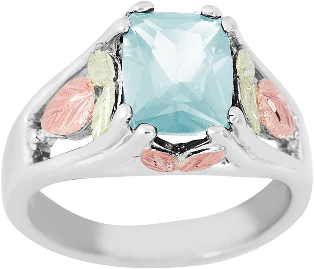 March Birthstone Created Aquamarine Bypass Ring 12k Green and Rose Gold Black Hills Silver Motif Sterling Silver