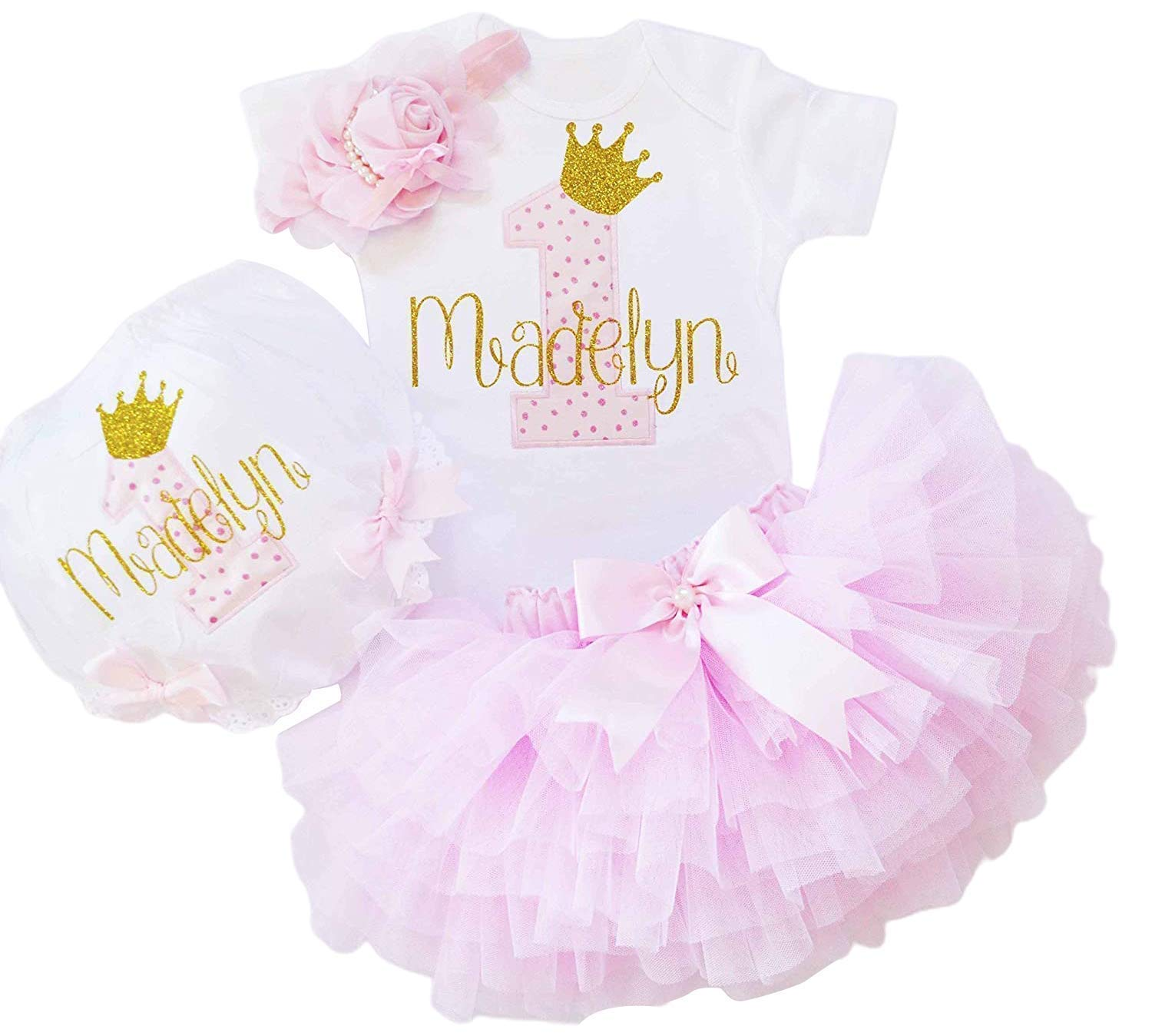 Pink and Gold Cake Smash Outfit Personalized 1st Birthday Outfit First Birthday Outfit 1st birthday Outfit Girl Birthday