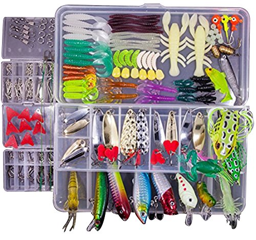 KMBEST Fishing Lures Mixed Lots including Hard Lure Minnow Popper Crankbaits VIB Topwater Diving Floating Lures Soft Plastics Worm Spoons Other Saltwater Freshwater Lures with Tackle Box ()