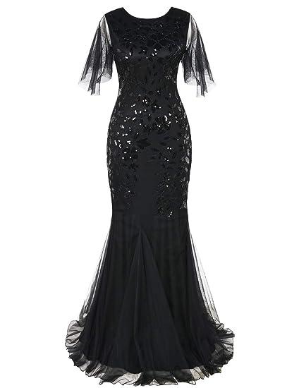 51aabd3d233a2 PrettyGuide Women's Evening Dress 1920s Sequin Deco Mermaid Hem Maxi Long  Ball Gown Black S