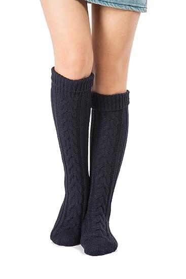 OKSakady Calcetines Largos de Arranque de Punto de las Mujeres, Calcetines largos de señora Chica