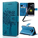 LG G6 Case,LG G6 Stand Case Girl,LG G6 Wallet Leather Cover,SKYMARS Tree Cat Embossing Synthetic PU Leather Fold Wallet Pouch Case Wallet Flip Stand Credit Card ID Holders Protective Case Cover for LG G6 Tree Blue