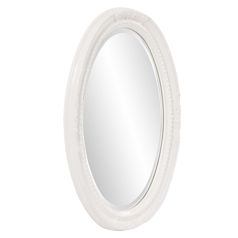 Howard Elliott Queen Ann Oval Hanging Wall Mirror, Beveled, Vanity, Glossy White, 25 x 33 Inch