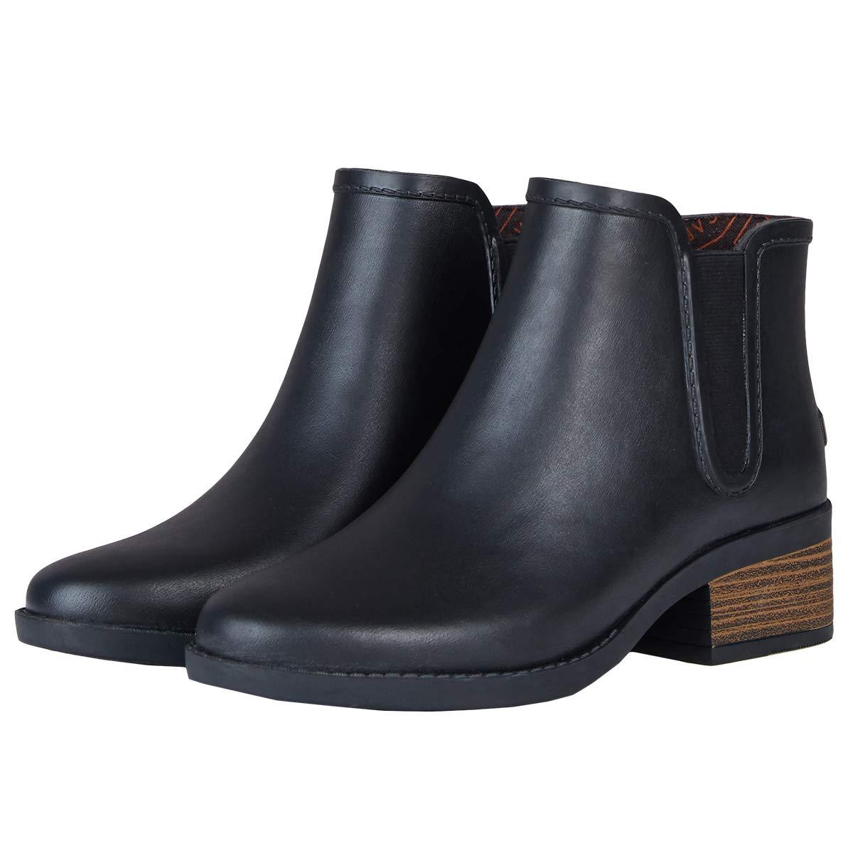 UNICARE Women's Chelsea Rain Boots Waterproof Slip on Shoes Nonslip Short Ankel Boots Rubber Rain Footwear Handmade, Black, US Size 7 by UNICARE