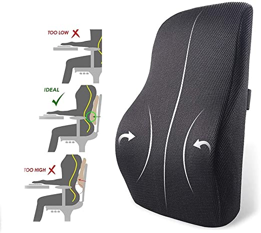3D Non-Slip Bottom Memory Foam Cotton Lumbar Support Breathable Mesh Relief Support Chair Orthopedic Posture Convenient Zipper Safety Buckle IOFESINK Back Pillow Cushion