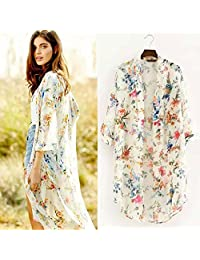 Coromose Floral Printed Half Sleeve Chiffon Kimono Cardigan Coat Tops Blouse (L, White)