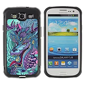 Hybrid Anti-Shock Defend Case for Samsung Galaxy S3 / Japanese Dragon Monster