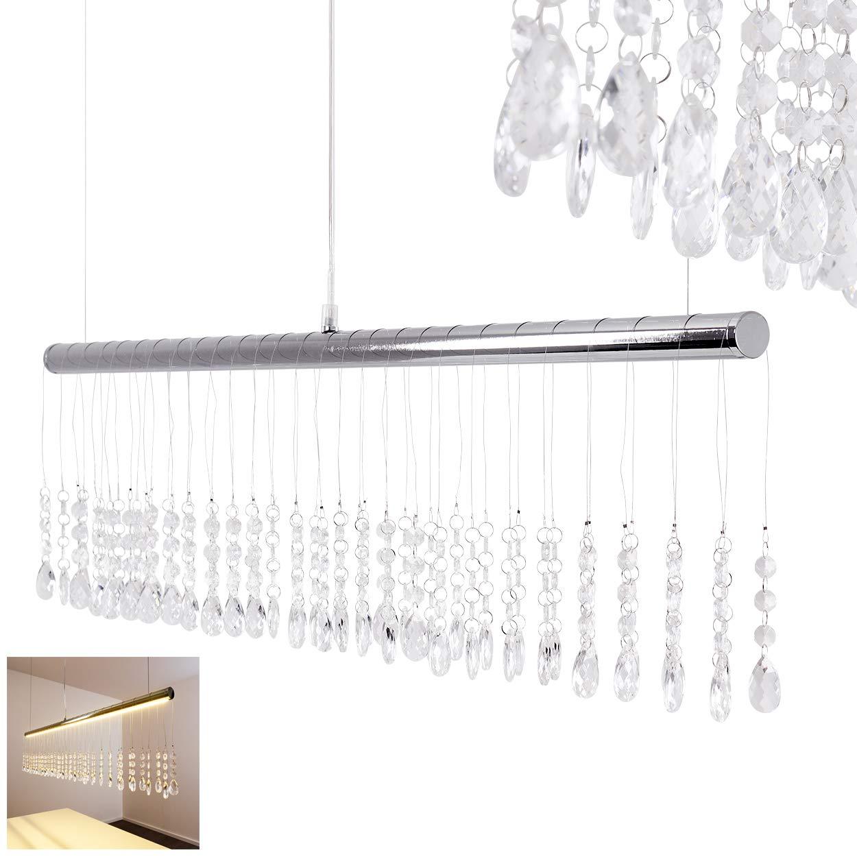 Dekorative LED Pendelleuchte mit schickem Glasbehang – LED Haengeleuchte mit tollen Lichteffekten – Höhe der Leuchte 120 cm (verstellbar) - Moderne Deckenlampe Wohnzimmer – Esszimmer – 3000 Kelvin