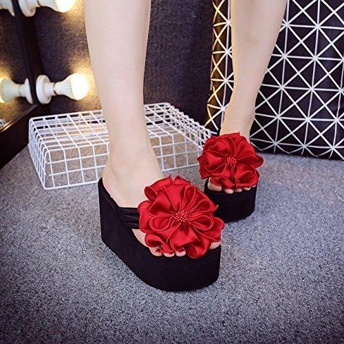 Bottompinch Flip Fleurs Épais Mer Tongs Slope De Red D'été Pour Women's Femme Flops Bord Awxjx f6yIbgvY7