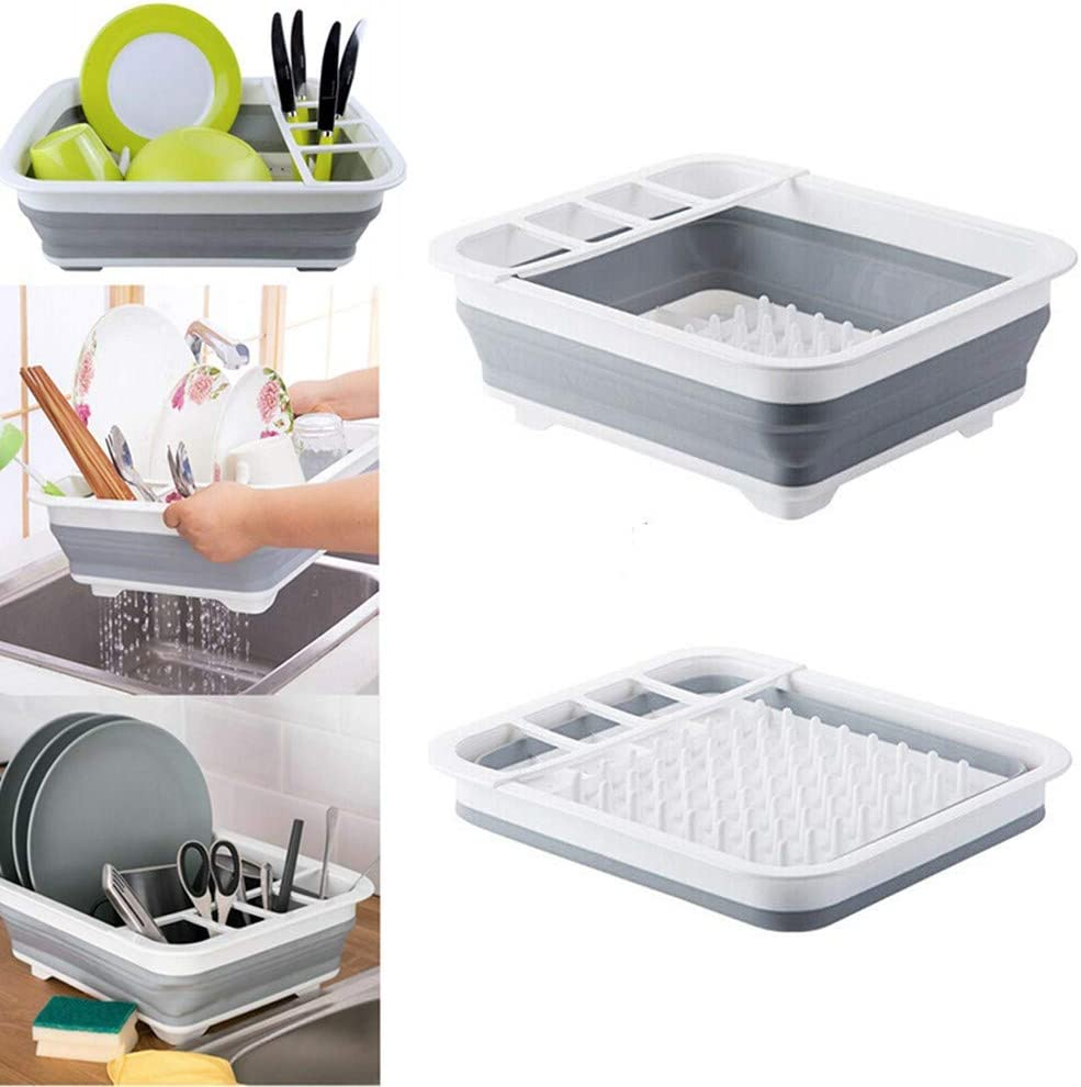 Collapsible Dish Drainer-kitchen dish drying rack,Foldable dishwasher drainer,Compact Kitchen Drain Rack, Portable Dinnerware Organizer,Space Saving Kitchen Storage Tray (grey, no drainboard)