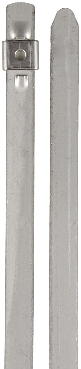 Image of BAND-IT AS6219 Tie-Lok 304 Stainless Steel Cable Tie, 3/8' Width, 8.6' Length, 1.5' Maximum Diameter, 100 per Bag Cable Ties