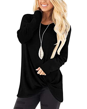 fbd6defe90b16 LONGYUAN Women s Casual Long Sleeve Solid T Shirts Twist Knot Tunics Tops  Blouses Black Small