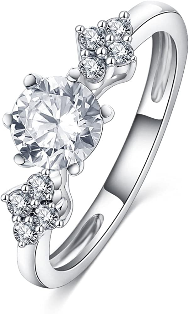 Cluster White CZ Wedding Ring New .925 Sterling Silver Halo Bead Band Sizes 5-10