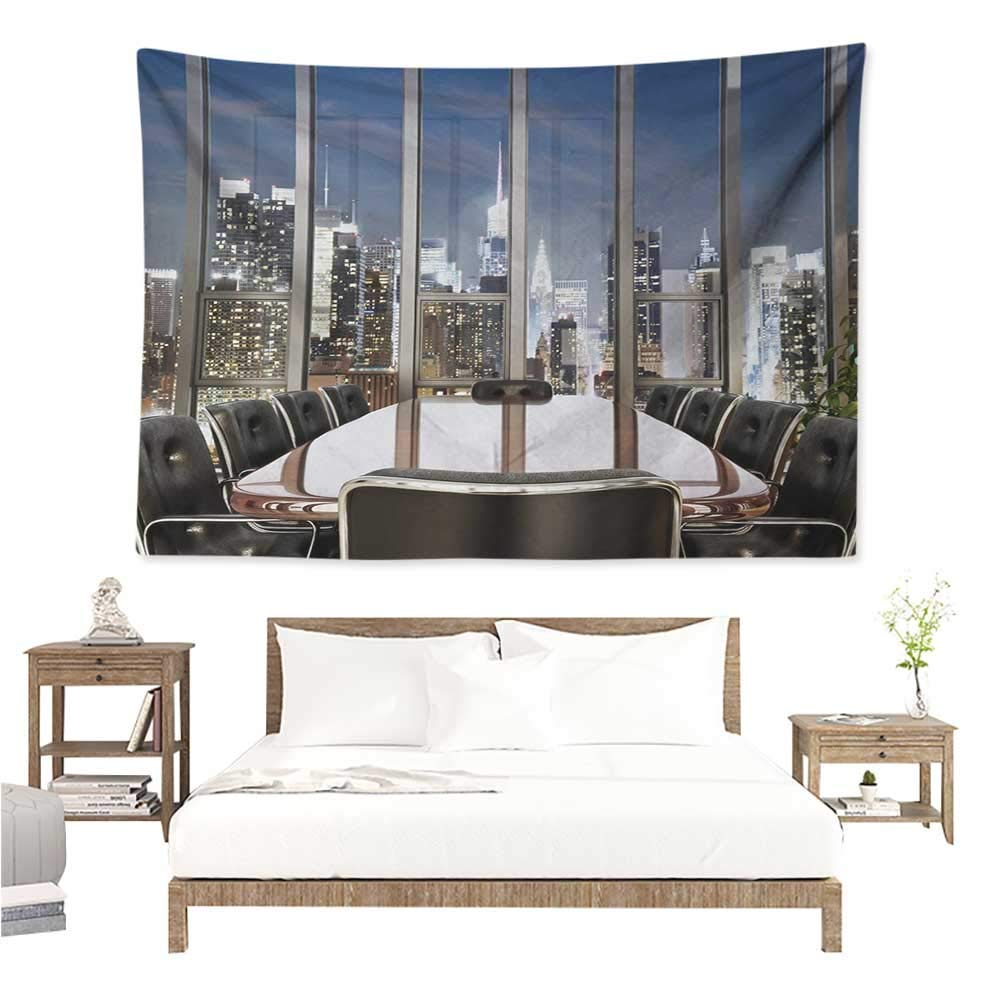 Angel-LJH Modern,Bedding Tapestry Business Office Conference Room Table Chairs City View at Dusk Realistic Photo 93W x 70L Inch Bedspread Picnic Grey Black Blue by Angel-LJH